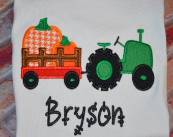 Embroidered Tractor Pumpkin shirt