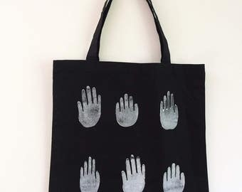 Hand Printed Tote with Hands