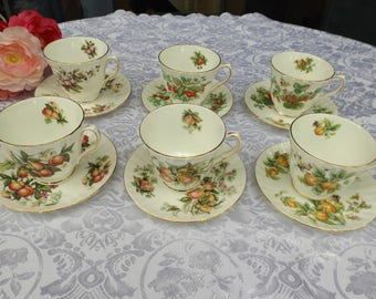 English DUCHESS bone china tea or coffee set service of 6,  6 cups 6 saucers Fruits & berries design.New old stock. Home decor Gift idea