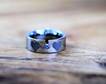 8MM Silver Tungsten With Sapphire  CZ Ring, LEGEND of ZELDA 8 Bit Heart, Free Inside Engraving