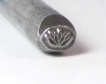 Flowering Lotus steel deign stamp 5x4 mm