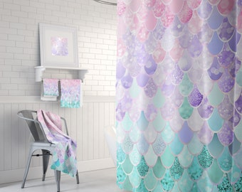 Cute Shower Curtain, Pastel, Mermaid Shower Curtain, Mermaid Bathroom,  Mermaid Decor, Mermaid Scales, Shower Curtains, Bath Mats And Towels