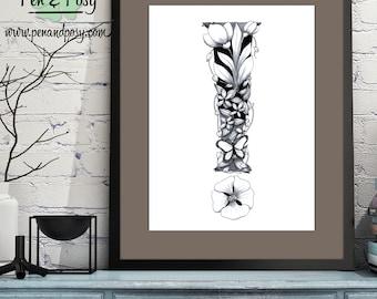 PRINTABLE Monogram Symbol ! Digital Print Hand Drawn Pen and Ink