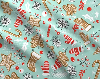 Christmas Fabric - Gingerbread Dreams Aqua By Heatherdutton - Gingerbread Cookies Holiday Winter Cotton Fabric By The Yard With Spoonflower