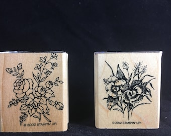 Floral Bouquets Rubber Stamps Set of 2