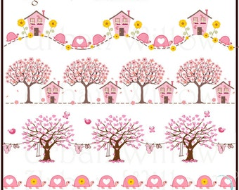 LITTLE HOUSE & Blossom Trees. Clip art page borders. (Png and Jpeg files).