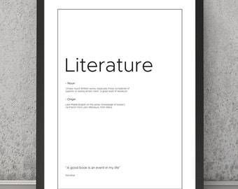 Literature definition print, Literature typography print, Literature print, Literature poster, Typography print, Quote print, Quote poster