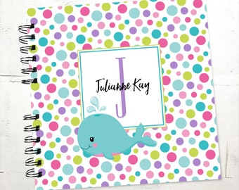 Baby Book |  Baby Memory Album | Whale Polka dots Modern Baby Memory Book Keepsake Baby Album
