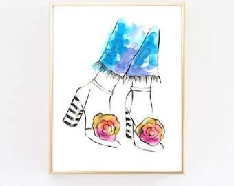Springtime Dreams, Print, Perfume Art, Vanity Print, Fashion Print,Home Decor, Watercolor Fashion Illustration, Wall Art