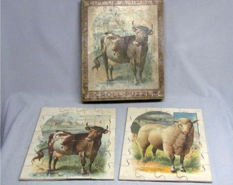 Two Rare McLoughlin Bros. Cut Up Scroll Puzzles, The Cow & The Sheep, Circa 1890