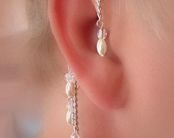 Pearl/Bridal Ear Wrap, Non Pierced Over the Ear