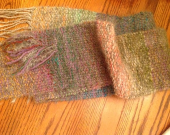 Handwoven Wool Rainbow Scarf