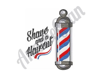 Barbershop Logo - Machine Embroidery Design, Shave & Haircut Embroidery