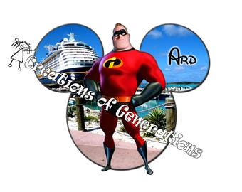 Disney Cruise Magnets for Door Decoration Magnet - Mr Incredible on Castaway Cay