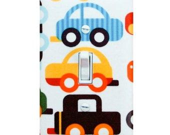Baby Boy Nursery Light Switch Plate Cover / Ready Set Go Cars Trucks / Boys Play Room / Bermuda Kaufman