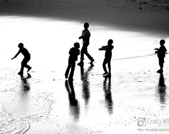 Monochrome SILHOUETTE PORTRAIT African Children Nature Black White Grey Wall art African life kid seaside beach ocean playful fun reflection