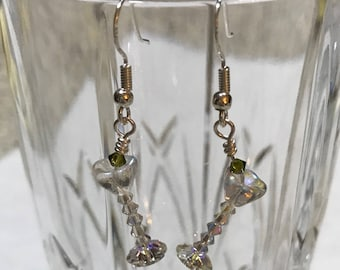Genuine Swarovski Crystal Martini Glass Earrings with Olive