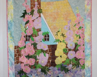 Cottage Chic Wall hanging,Shabby Chic Wall hanging,Honeysuckle Garden Quilt,Wall quilt,Floral Wall quilt,Garden quilt,Handmade quilt
