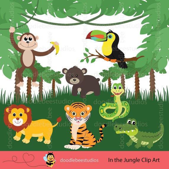 jungle animals clipart jungle friends clip art safari rh etsy com jungle clip art free printable jungle clip art free