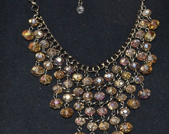NECKLACE, CLEOPATRA Style, 4 Strands of Amber colored CRYSTAL Beads with Black on Silver Chain. Vintage Estate Sale Find.