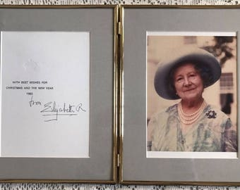 Queen Elizabeth Queen Mother Signed Christmas Card Framed 1983