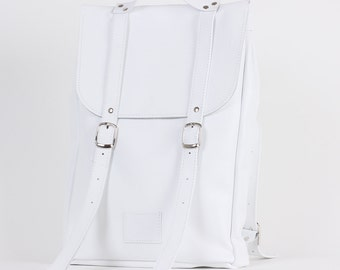 White middle size leather backpack rucksack / To order / White Leather Backpack / Leather rucksack / Womens backpack / Christmas Gift /
