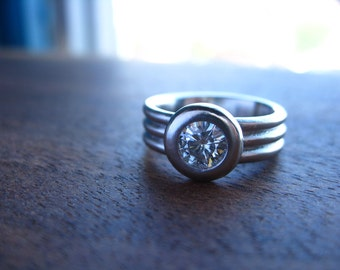 950 Palladium and Moissanite triple band ring, low profile, bezel set, wide band engagment ring