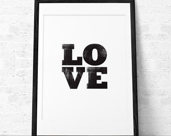 Love print. Black typographic print Black and white print Minimal print Valentine's day wall art Love decor Love wall art Valentine print UK