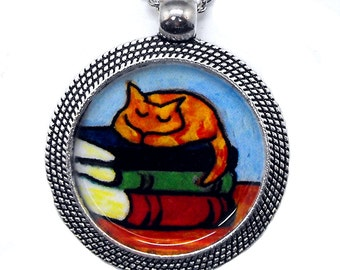 Cat Books Necklace Orange Tabby Bookish Kitty