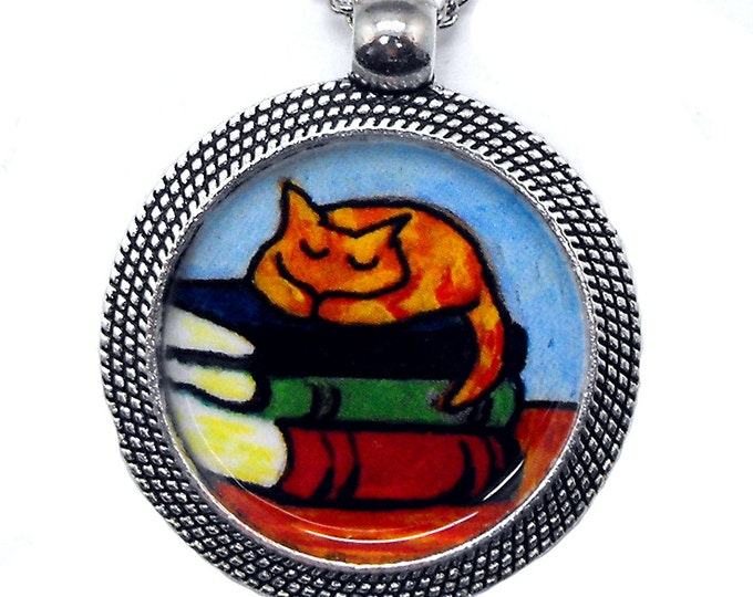 Cat Books Necklace Orange Tabby Bookish Kitty