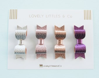 Metallic mini hair bow clip set silver, pink, gold and purple