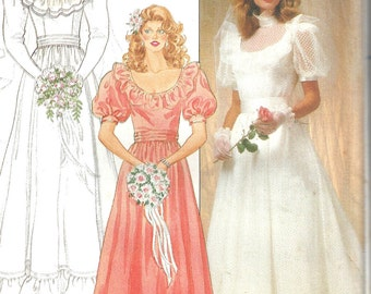 Wedding Gown Pattern 1980s Vintage Butterick Bridesmaid Dress Sewing Uncut Women's Misses Size 12 Bust 34 Inches