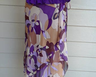 90's Purple Abstract Print Wrap Skirt