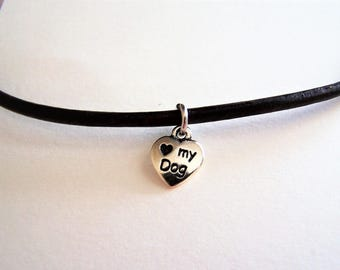 I Love My Dog Ankle Bracelet on a Leather Cord by Ankletgypsy