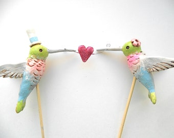 Hummingbirds in Love wedding cake topper