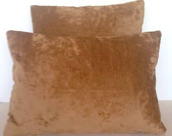 Throw Pillow Cover Lumbar Square Antique Velvet Chenille Brown Camel Gold Bronze
