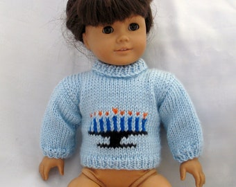 American Girl Hand-knitted Menorah sweater