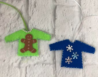Ugly Christmas Sweater Ornaments Gingerbread Man Snowflakes Set Of 2