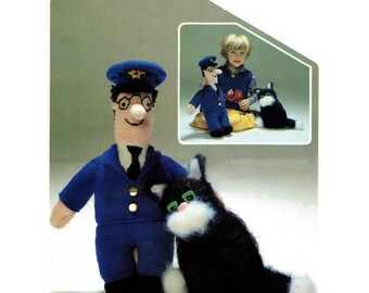 Pdf knitting pattern for postman pat and jess the cat instant instant pdf digital download vintage knitting pattern to make postman pat jess his cat stuffed plush soft body toys in double knitting dt1010fo