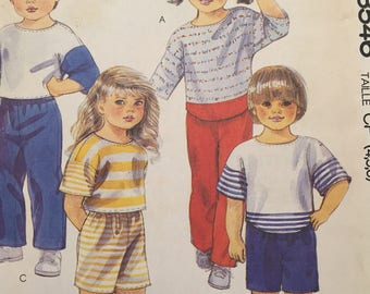 Children's Top, Pants and Shorts Easy McCalls no.3546 for Stretch Knits Only Size 4,5,6 - Uncut FF
