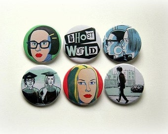 Ghost World set - button badge or magnet 1.5 Inch
