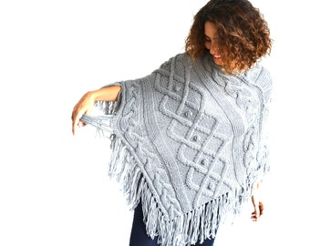 Light Gray Cable Knit Poncho by Afra Plus Size Over Size Maternity