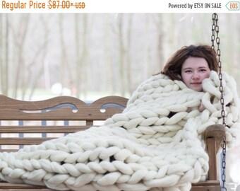 Chunky Knit blanket, Chunky Knit throw,Arm Knit Blanket,Merino Wool Blanket,Giant Knit blanket