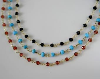 Bracelet or anklet turquoise black Spinel garnet Silver925 gold plated bracelet or anklet turquoise spinels garnet Silber925 gilded