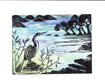 Waterbird Lino Cut - The Darter
