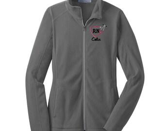 RN Heart Stethoscope Full Zip Fleece Jacket. Microfleece Jacket. Nurse Jacket. Nurse Graduation Gift. Registered Nurses Jacket. L223