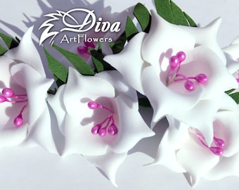 White and magenta flowers | Artificial Flowers | 10 pcs flowers | Magenta stamens | Decor flowers |  | DIY | Wedding | foam flowers
