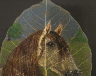 Lipanzzaner Horse Hand Painted onto Skeleton Bodhi/Pepal Leaf