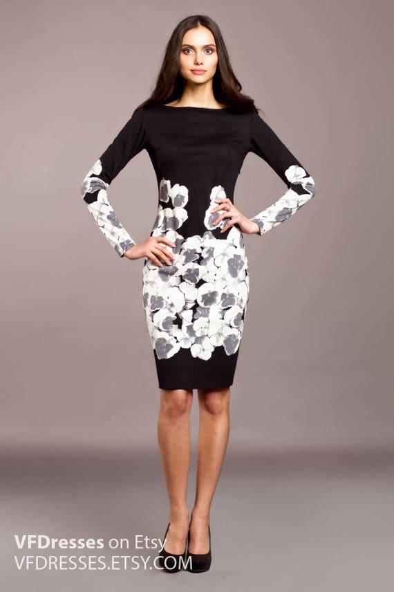 Schwarzes Kleid lässige Kleidung Bleistiftkleid Midikleid