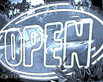 Open 2 Blue Version, Instant Download Image, Blue Gray andWhite Photo of Neon Cafe Sign, Oval with Car Tree Reflections